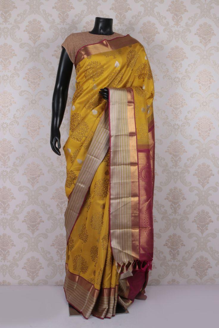 #Yellow multicoloured pure kanchipuram silk #wonderful #saree with antique #gold multicoloured border -SR11551