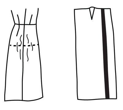 Illustration depicting pattern alteration of skirt for flat side hip
