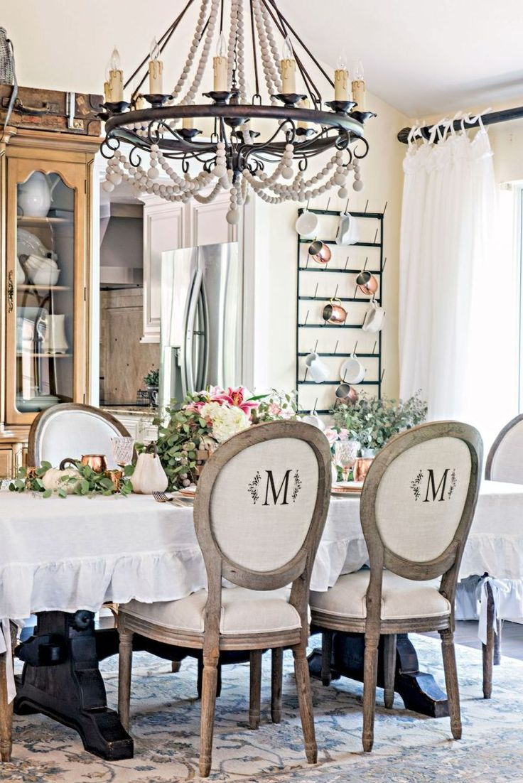 modern french country dining room table decor ideas 2 - Stone Slab Dining Room Decorating