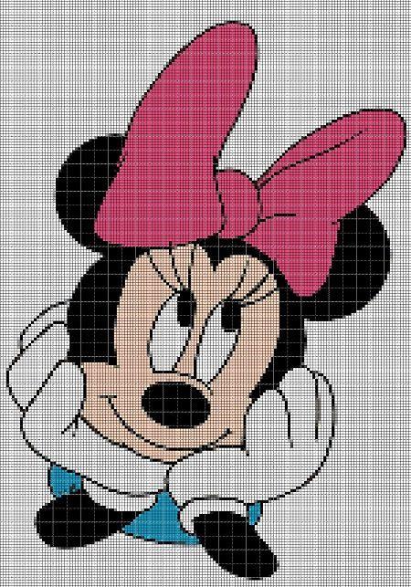 Minnie Mouse head cross stitch by Vandihand on Etsy