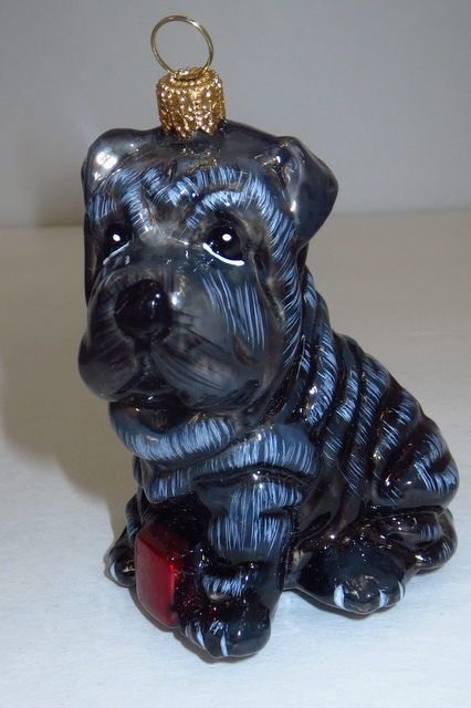 Christmas Ornament Komozja Family Glass Shar Pei Puppy Dog Poland