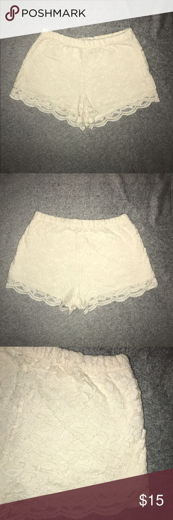 Abercrombie and Fitch shorts Amazing creme color shorts with beautiful floral lace! Only worn a couple of times, in perfect condition! Great addition to your summer wardrobe! Abercrombie & Fitch Shorts
