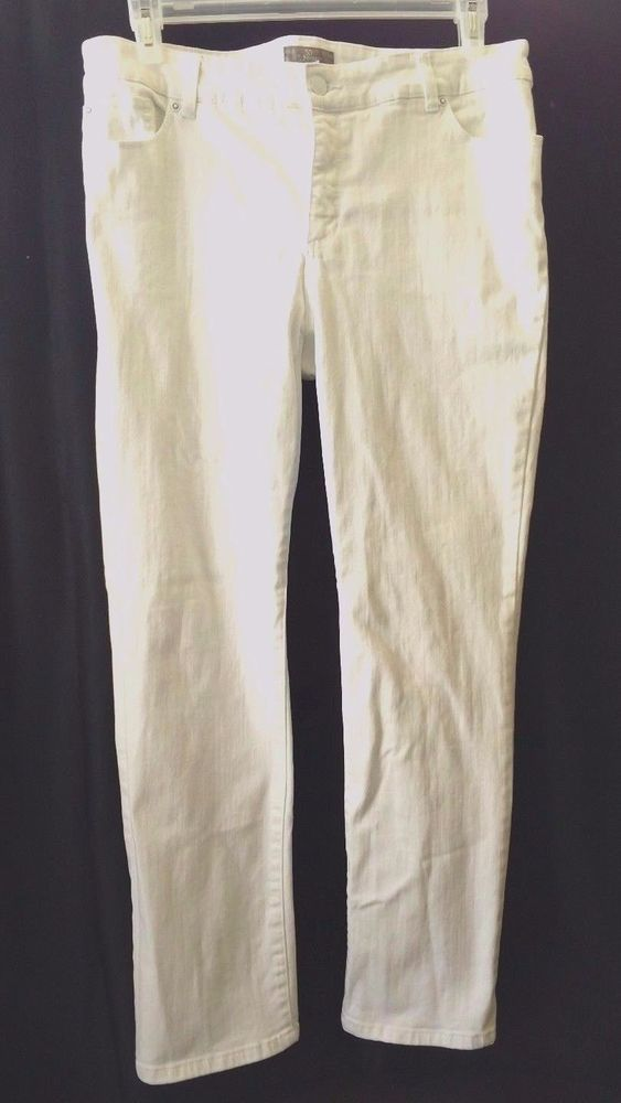 CHICO'S So Slimming Pants jeans SIZE 3 Reg white slacks classic stretch #Chicos #CasualPants