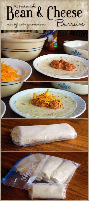Homemade Bean & Cheese Burritos, make and freeze for work!