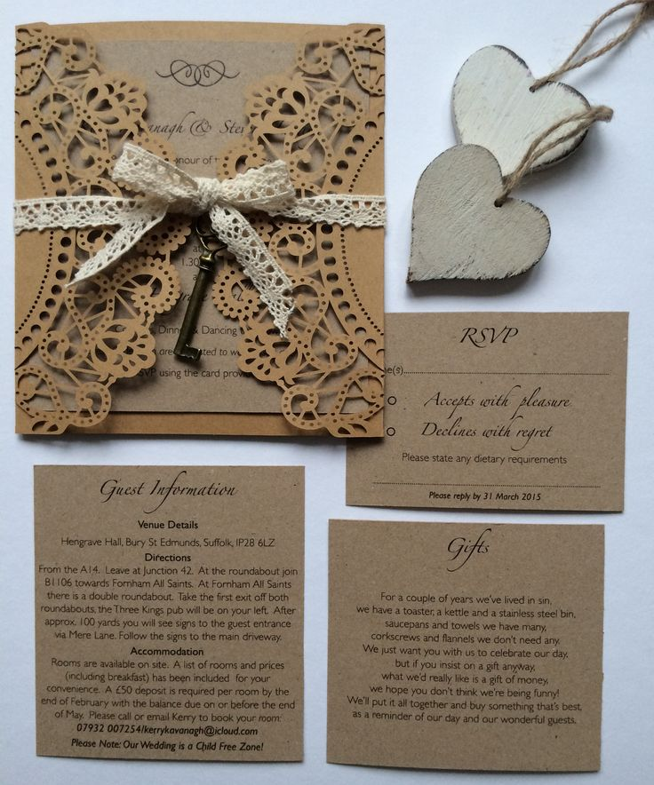 Rustic Doily Invitation with back pocket x