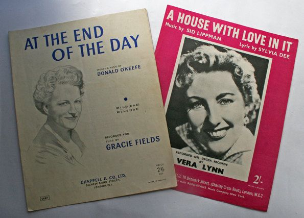 1950s Sheet Music, Vera Lynn and Gracie Fields, war memorabillia. by gardenfullofVintage on Etsy