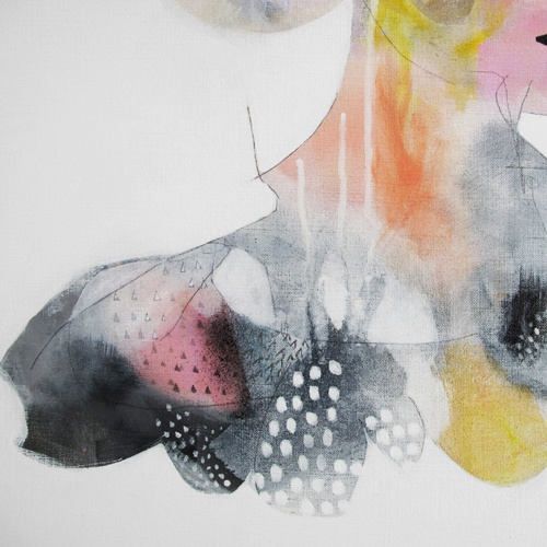 fashion illustration by erin flannery / 'sandy swallowed a rainbow' (detail shot)