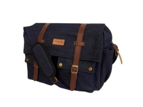 "Men's Denim Suede Satchel 14"" Laptop Shoulder Messenger School Work Travel Bag 