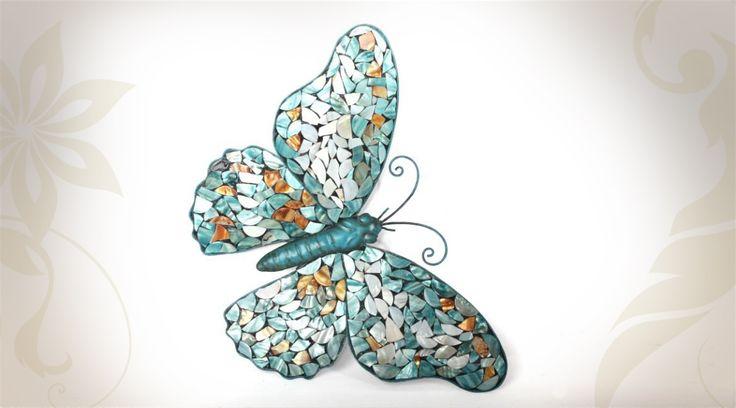 Décoration murale papillon en mosaïque