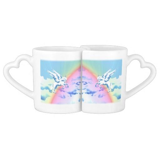 http://www.zazzle.com/pegasus_flying_over_clouds_and_rainbow-256814611113987469?rf=238523064604734277 Pegasus Flying Over Clouds And Rainbow - These lovers mugs features a Pegasus flying over a rainbow over clouds.