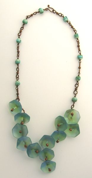 Beautiful Jewelry!   Sea Glass  and Ceramic Beads with Copper   By Alexis Rossi Jewelry