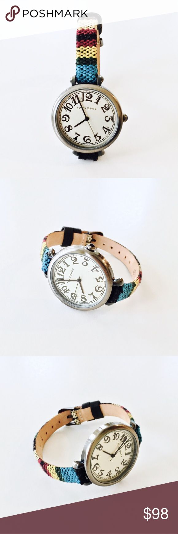 Free People x Tokyo Bay Sedona Woven Strap Watch Style: Multicolored woven leather strap watch, adjustable buckle closure, stainless steel foundation. Color: Black.  Fabric: Textile, Leather.  Condition: Pre-owned with slight wear on the case and strap; otherwise good condition. Free People Accessories Watches
