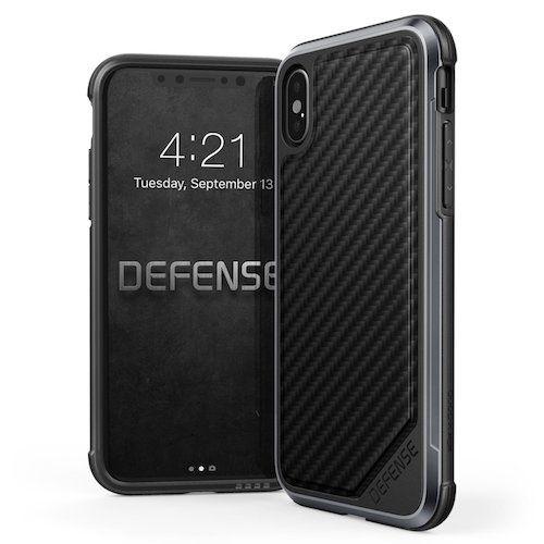 7. iPhone X Case, X-Doria Defense Lux Series - Military Grade iPhone X Case, Drop Tested, Anodized Aluminum, Premium Protective Case for Apple iPhone X, [Black Carbon Fiber]