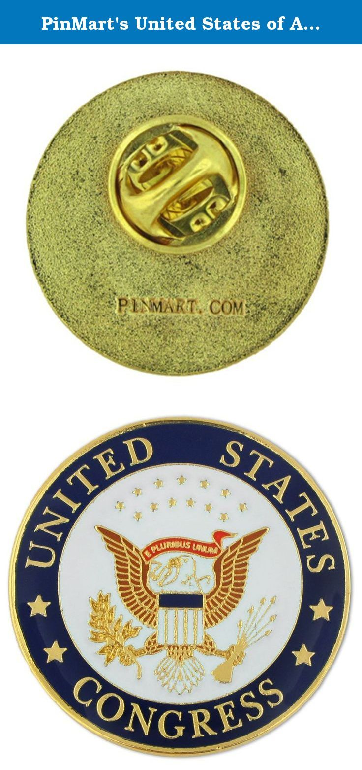 """PinMart's United States of America Congress Seal Lapel Pin. United States of America Congress Seal Pin. 1"""" Die struck from brass, enamel color filled, gold plated and epoxy coated. Members of the United States Congressional Team, Senate and U.S. military branches all have a seal to identify their group. Show your congressional support with this great seal pin! Each pin includes a clutch back and is individually poly bagged."""