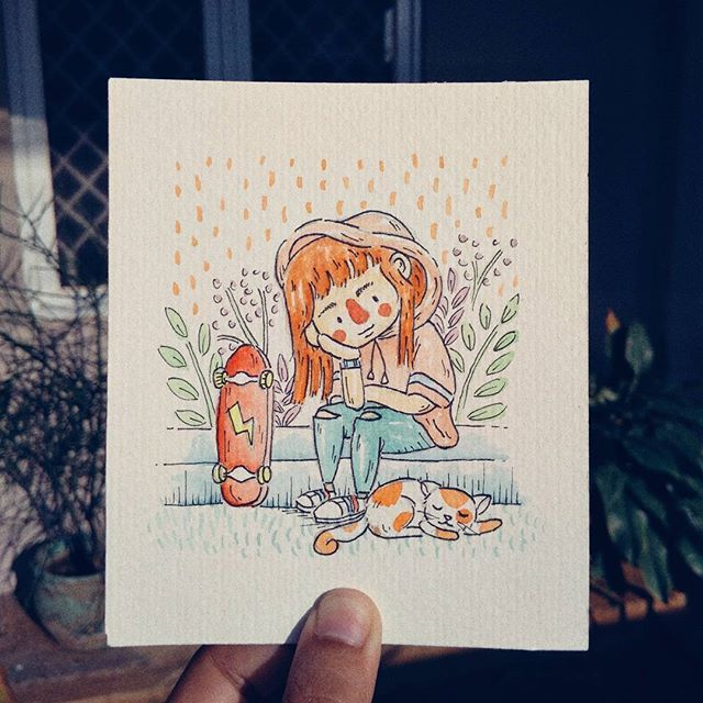 Inktober #04 Curiousity  When you are not doing anything, have you ever looked around and asked why they live? are they bored? why they are different?  Just a mystery.. But there's must be a reason  . . . . . . . . . . . .  #illustration #character #watercolor #aquarelle #girl #cat #brush #hoodie #skate #freetime #tone #happy #calmsy #curious #inktober2017 #inktober #belajarbahasainggris