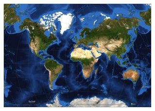 World Satellite Map with Van Der Grinten Projection This World Fine Art Satellite Map is a spectacular map of the whole world, in Geographic projection shows both topography and bathymetry in brilliant color and in unparalleled detail. #newportgeographicmaps #maps #newportgeographic