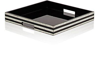 J.Fleet Designs Stripe-Inlaid Lacquer Big Tray - Trays - 504636948