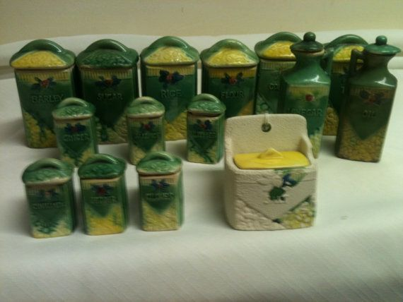 Rare Antique Complete Miniature Canister & Spice Set, All 30 pieces intact on Etsy, $225.00