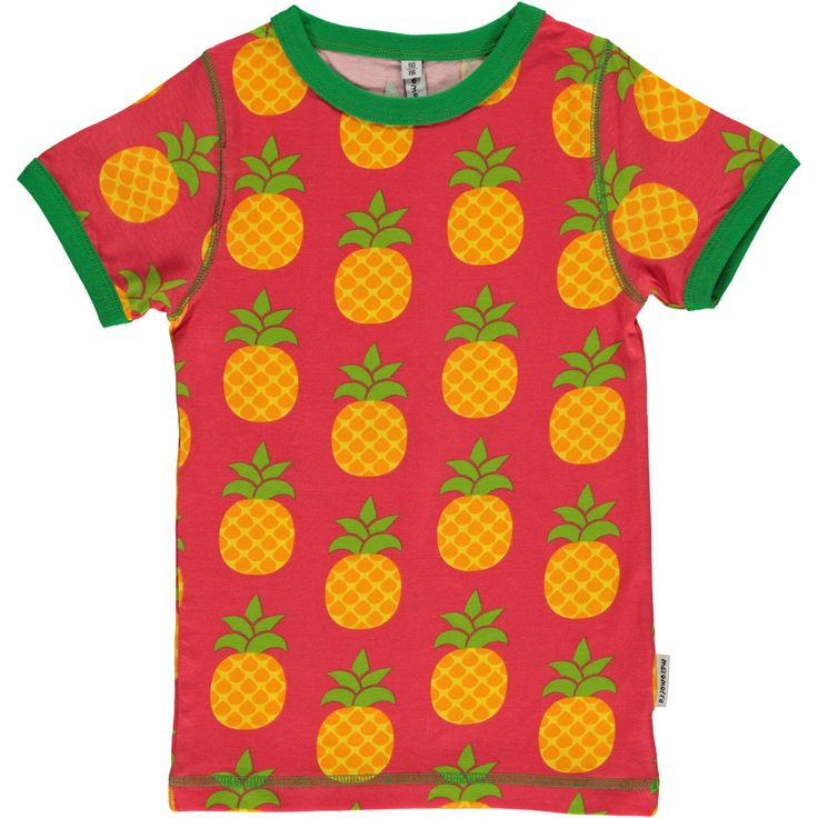 Pineapple slim fitting short sleeve shirt from Maxomorra, made from 100% Organic Cotton. Sweatshop free ethical and sustainable fashion. From Maxomorra, available at Modern Rascals.