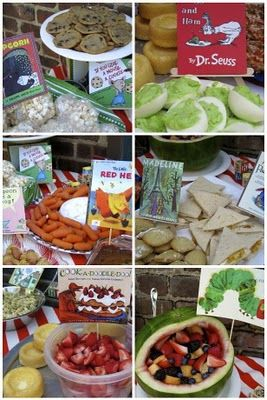 Great idea to pull food ideas from book titles Neet Idea for kids shower a Dr Seuss themed party