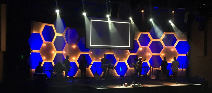 Cody Cochran from Living Water in Olympia, WA brings us this cool hexagonal stage design. This set was designed and build for 2016 easter and youth conference.