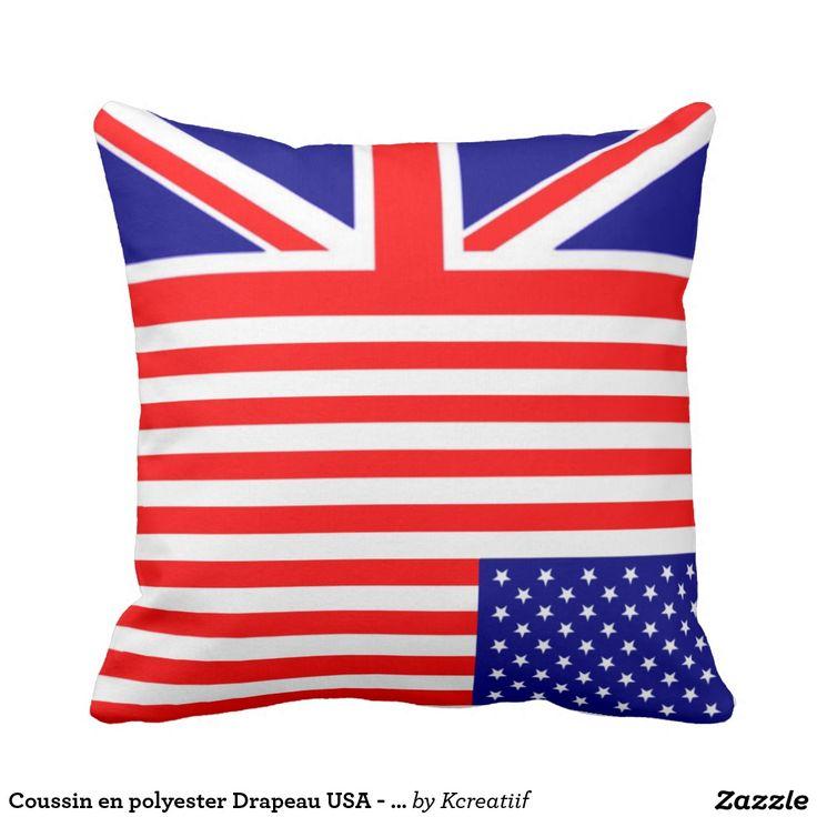 Coussin en polyester Drapeau USA - UK