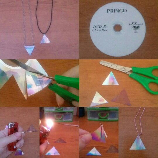 This is how I made these cool necklaces inspired by Tumblr. Take an empty CD and cut a triangle (you can stick off the white part if you want and it seems like the transparent triangle in the 4th pic), now take a needle and burn the tip, after that make a whole on the triangle (or two if you prefer) and when you have done put a wire to create a necklace. It's pretty cool, easy and fast!  #diy #necklace #tumblr #cd #jewels #cool #fast #doityourself #triangle #easy