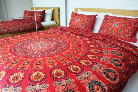 Bedding – Mandala Bed Cover Hippie Tapestry Pillow Cover – a unique product by IndianCraftPalace on DaWanda