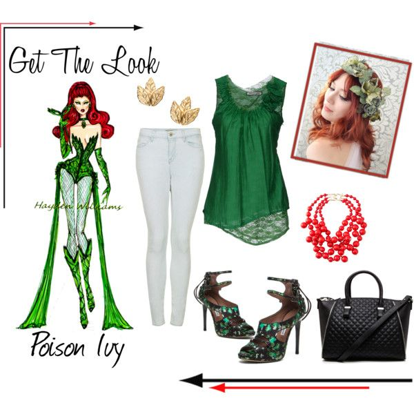 """""""Poison Ivy Get The Look"""" by ashley #fashion #fashionblog #poisonivy #pinterest #redheartshirt #getthelook #highfashion #love #comic #shoes #gold #redhair #jeans #coralnecklace #haydenwilliams"""