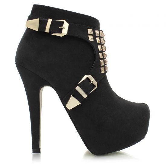 Μποτάκια με χρυσά τρουκ σε μαύρο από το www.inshoes.gr [Black ankle boots with golden studs by www.inshoes.gr]