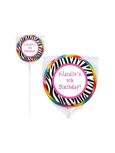 Zebra Party Personalized Lollipops
