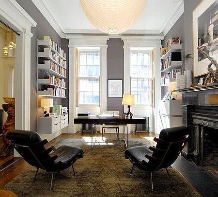 Pretty home office.    Best wall color.   Fireplace.   Huge desk.   Floating shelves.