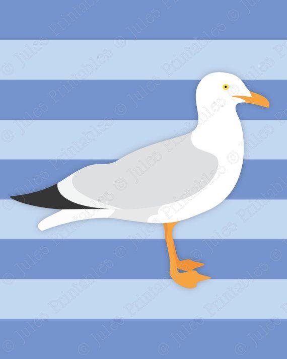 Nautical Art Prints, Set of 3 Nautical Prints, Seagull Art, Anchor Print, Sailboat Art Print, Nautical Nursery Theme, Nautical Wall Decor- Jules Printables