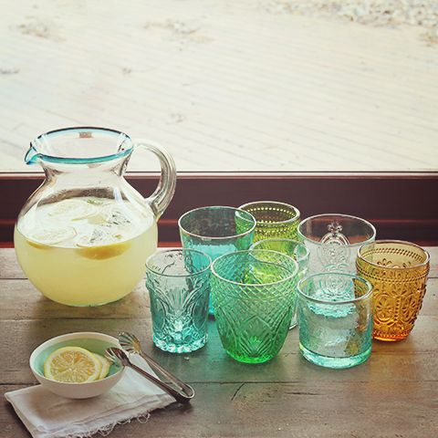 Vintage Tumblers - Depression Glass {follow links to recipe for Lemonade with Orange Blossom Water}