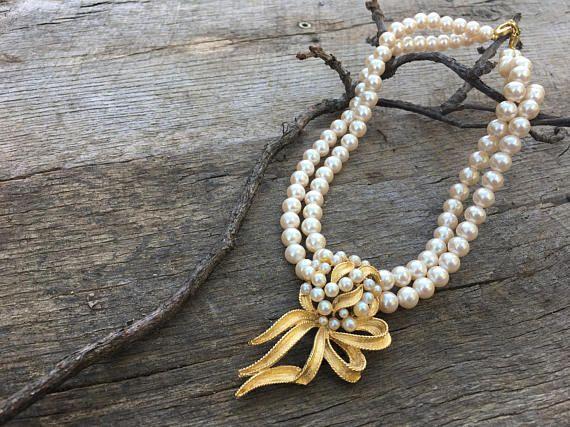 Rare Richelieu Pearl Necklace Vintage 1960s Faux Pearl Double