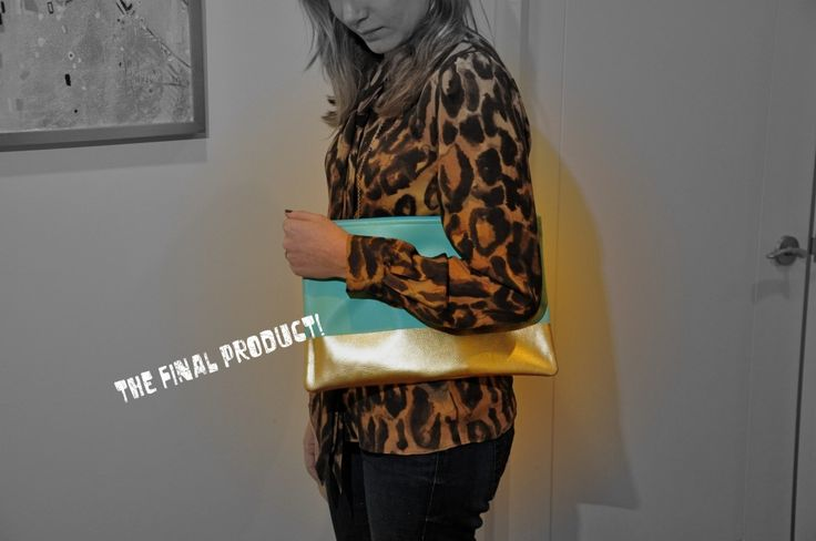 colorblocked spray painted leather clutch