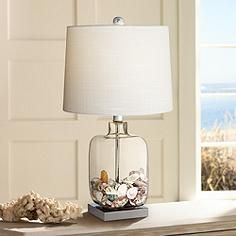 """Square Glass 21 3/4"""" High Fillable Table Lamp"""
