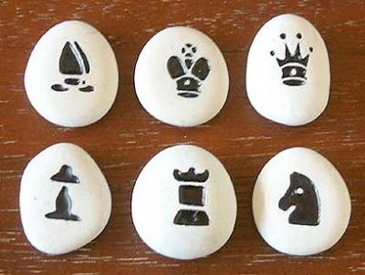 Sandstone pebble chess set