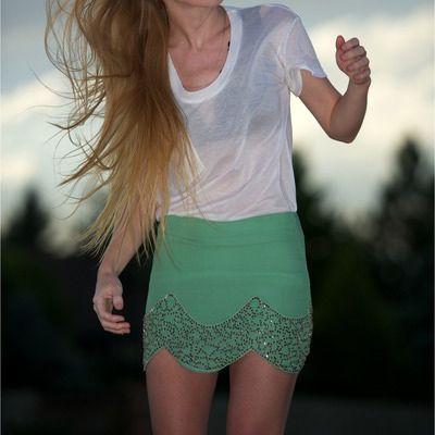 scalloped gryphon skirt: Green Skirts, Mint Green, Scallops Shorts Outfits, Scallops Skirts, Mint Skirts, Embellishments Skirts, Green Fashion, Shorts Summer Skirts, Cute Skirts