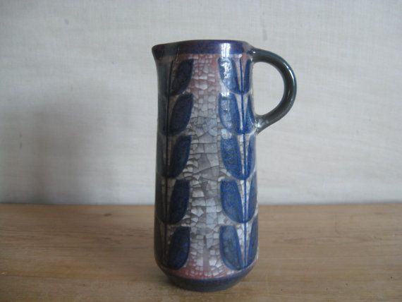Marianne Starck for Michael Andersen - pitcher vase - Persia glazing - cobalt - red lustre - midcentury