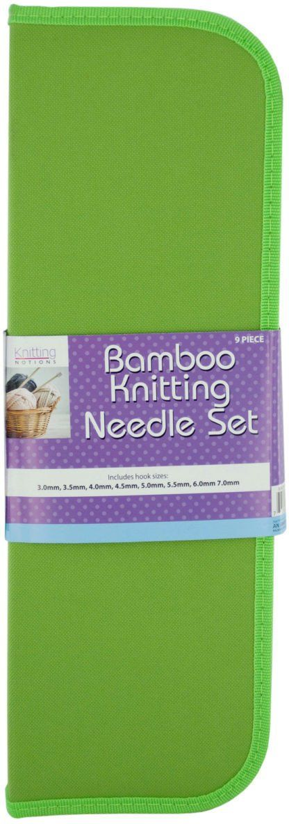 Bamboo Knitting Needle Set in Storage Case - 3 Units