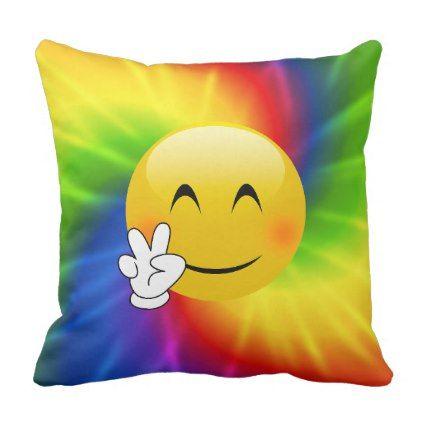 #Tie Dyed Peace Sign Emoji Throw Pillow - #emoji #emojis #smiley #smilies