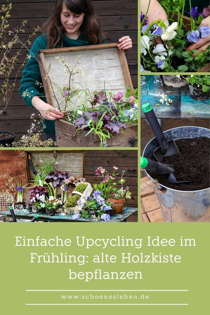 Upcycling Ideen Fruhling Alte Holzkiste Bepflanzen Schones Leben Upcycling Ideen Alte Holzkisten Holzkisten