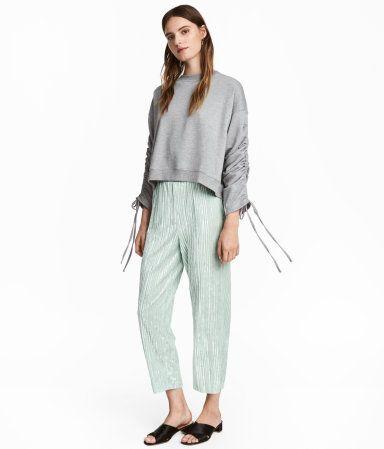 Hose aus Crashsamt | Mintgrün | Damen | H&M DE
