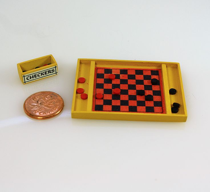 Handmade checker board for your dollhouse!  Available exclusively from Small Scale Showcase