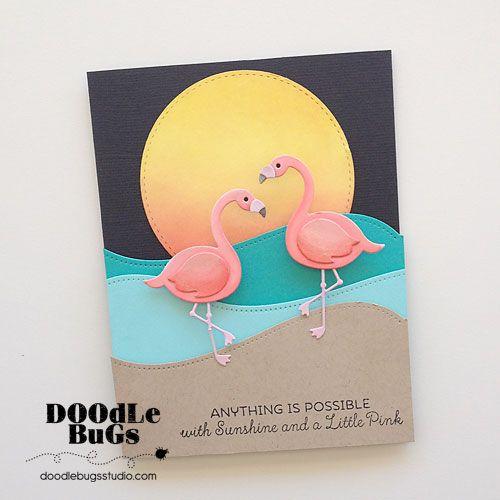 Doodlebugs: MFT Stamps- Flamingos Die and Tickled Pink Stamp