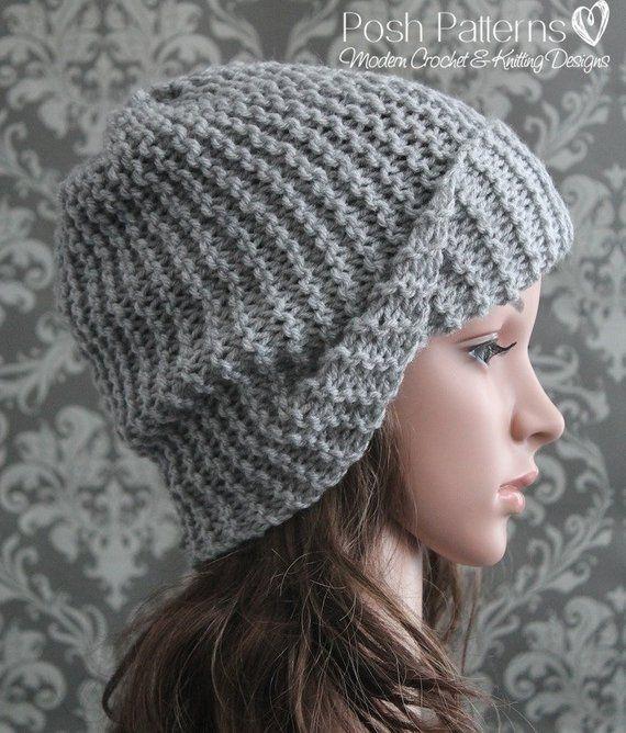 Knitting PATTERN - Easy Beginner Knit Slouchy Hat Pattern - Knitting  Patterns for Men - Includes Bab ba6aa47d610c