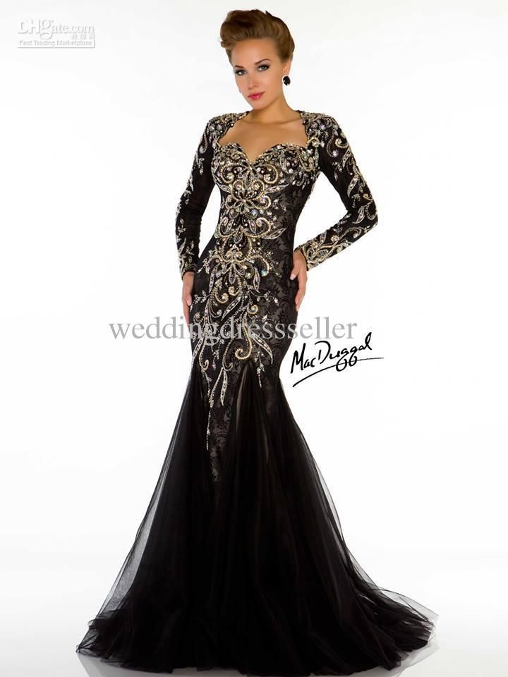 Fancy Wholesale Sexy Long sleeve Sweetheart Mermaid Crystals Beads Prom gowns Evening dresses Free shipping Black Wedding