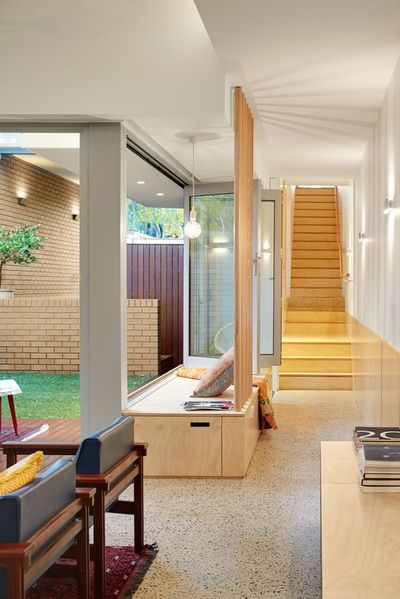 Bench Seat out to Courtyard Garden South Terrace Additions  Philip Stejskal Architecture