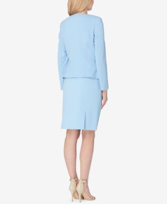 Tahari Asl Petite Zip-Up Peplum Blazer - Blue 12P